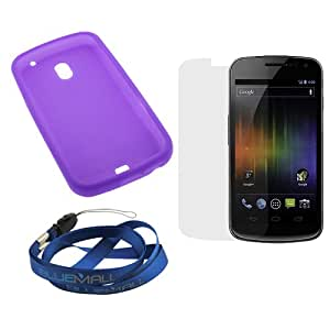 GTMax Purple Silicone Soft Skin Cover Case + Clear LCD Screen Protector for Samsung Galaxy Nexus / Nexus Prime i515 (CDMA ) / Galaxy Nexus / i9250 (GSM ) (Package include a Neck Strap)