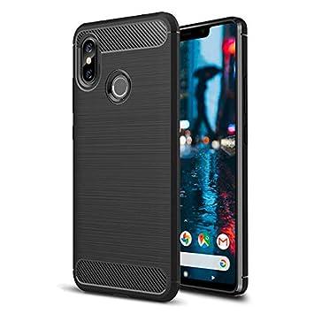 Funda Xiaomi Mi 8 Negro de Silicona dura, Carcasa Protectora para Mi8 Antigolpes y Antirayaduras con acabado en Fibra de Carbono