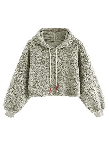 (Romwe Women's Casual Long Sleeve Fleece Pullover Crop Hooded Teddy Sweatshirt Grey M)
