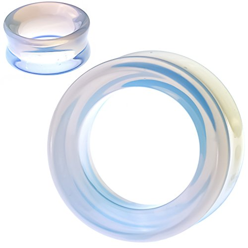 (soscene Hollow Tunnels Opalite Organic Stone Ear Plugs Gauges Sold in Pairs (8MM-0 Gauge) )