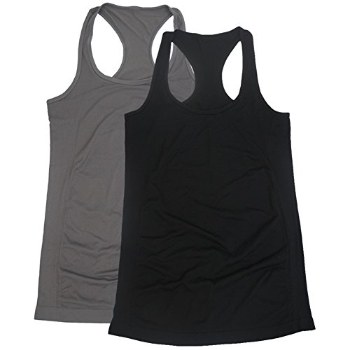 Length Shapewear Tank - BollyQueena Women's Shapewear Comfort Camisoles Bodybuilding Tank Tops Black And Grey S