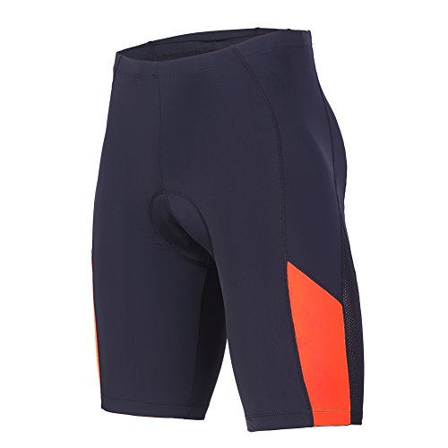 beroy Mens Padded Cycling Shorts with Pocket and Reflective Stripe Bike Bicycle Shorts Breathable Quick Dry(Orange,Medium)