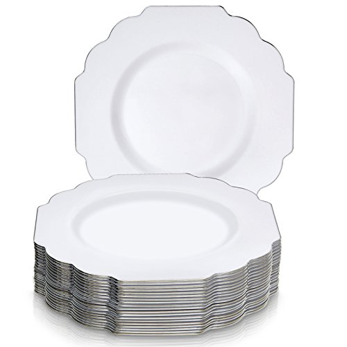 "DISPOSABLE DINNERWARE SET, 20 Dinner Plates (Baroque - White , 10.25"")"