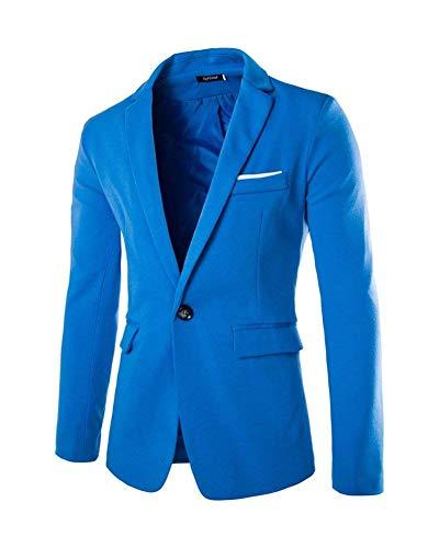 Moderna Fit Slim Da Bottone Blazer Uomo 1 Blau Haidean Giacca Smoking Casual kZuPXi