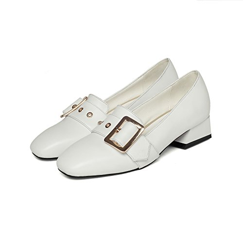 Profond White CXQ Tête QIN Bloc Chaussures Peu Talons amp;X carré Femme Bouche qZ0Rw