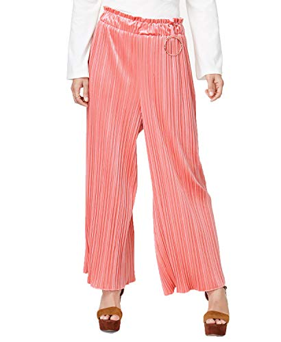 endless rose Womens Velvet Pleated Wide Leg Pants Pink M