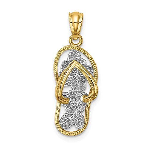 14k Yellow Gold Floral Flip Flop Pendant Charm Necklace Sea Shore Sal Fine Jewelry Gifts For Women For Her