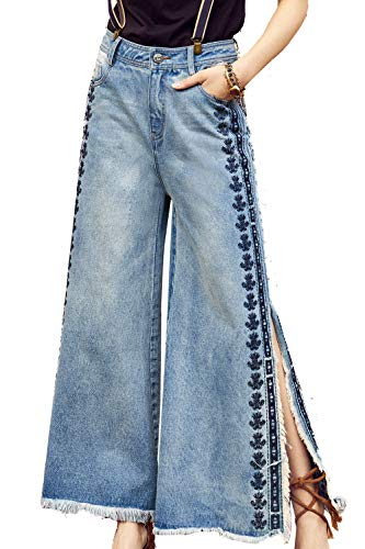 Artka Women's High Waist Flare Capri Jeans Vintage Embroidered Blue Petite Crop Hem Denim Pants ()