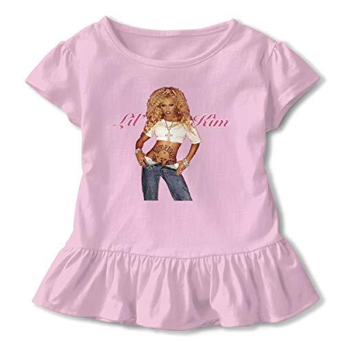 JonathanBehrens Lovely Kids Girls Soft Lil Kim Short Sleeved Ruffled Baby T-Shirt Gift 3T Pink