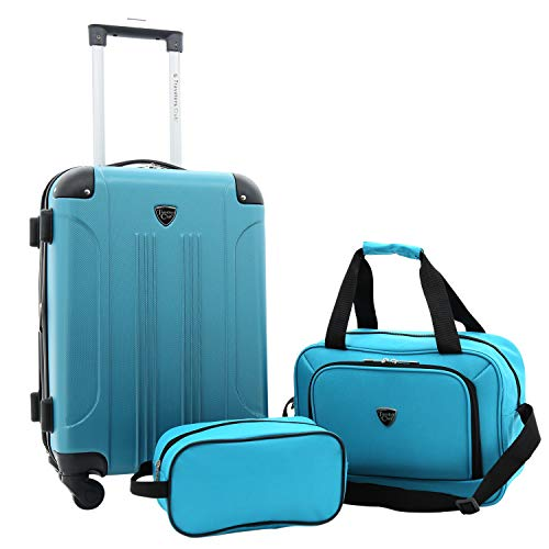 Travelers Club 3 Piece Set Chicago Plus Carry-On Luggage and Accessories Set, Teal Option