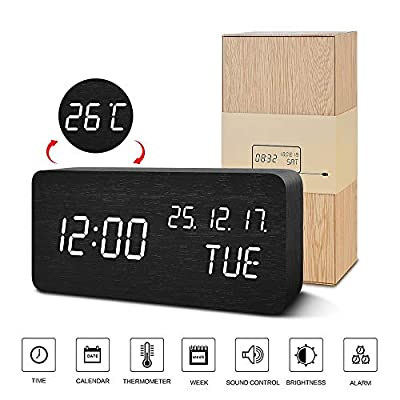 BlaCOG Digital Alarm Clock with Wooden Desk LED time, Week, Date/Month/Year and Temperature Display, Battery/USB Powered, 3 Alarm Settings, Adjustable Brightness