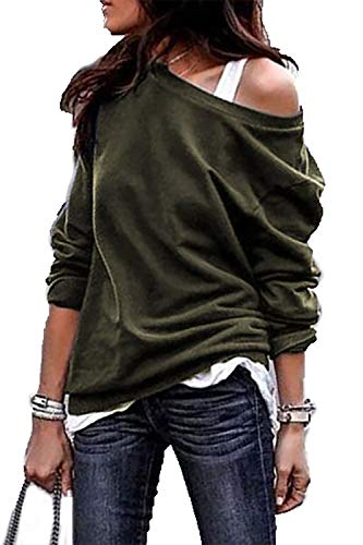 HZSONNE Women's Casual Full Bat Wing Sleeve Off Shoulder Loose Fit Tees T-Shirts Jumper Sweatershirt Knitted Tops Plus Size Green
