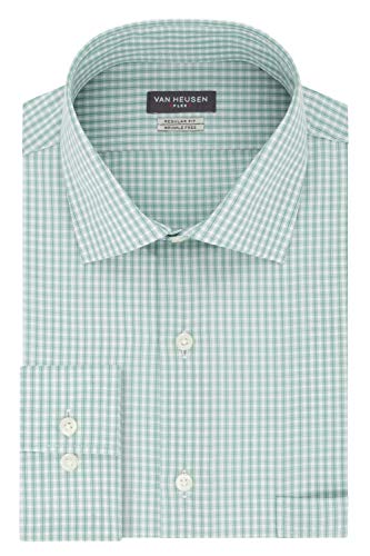 Van Heusen Men's Dress Shirt Regular Fit Flex Collar Check, Vert, 17.5