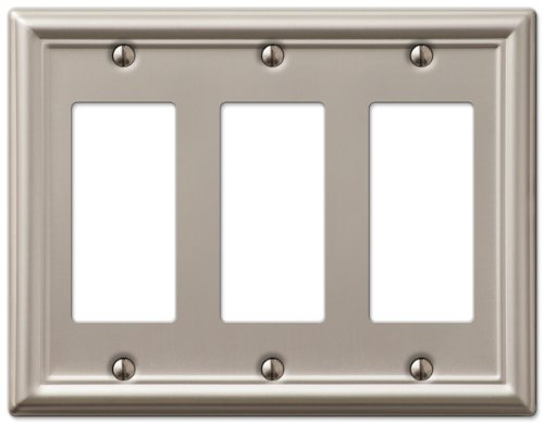 (AmerTac 149RRRBN Chelsea Steel Triple Rocker-GFCI Wallplate, Brushed Nickel)