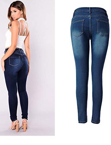 Slim Le Fit Blu Stretch Scappando Jeans Attillati Pantaloni Donne 7wCxFtwq4f