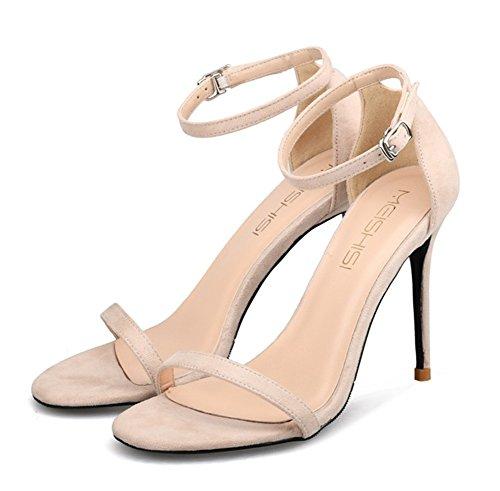 Sandalias Ante Strappy Nvxie Fiesta Boda Apricot Tamaño Paseo Medio Zapatos Señoras Mujer Alto Tacón Correa Tobillo EYqnTqSOHw