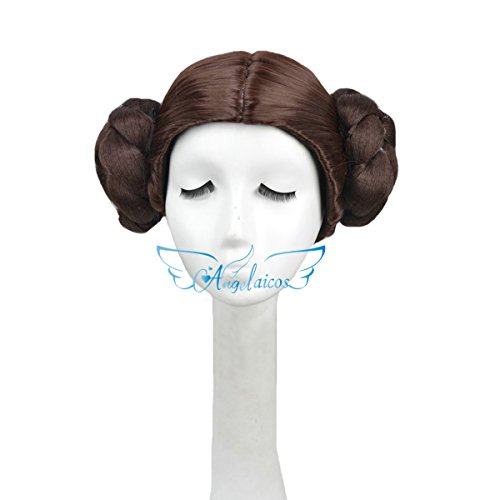 Angelaicos Womens Prestyled Buns Cosplay Party Costume Hair Full Wig Short Dark Brown ()