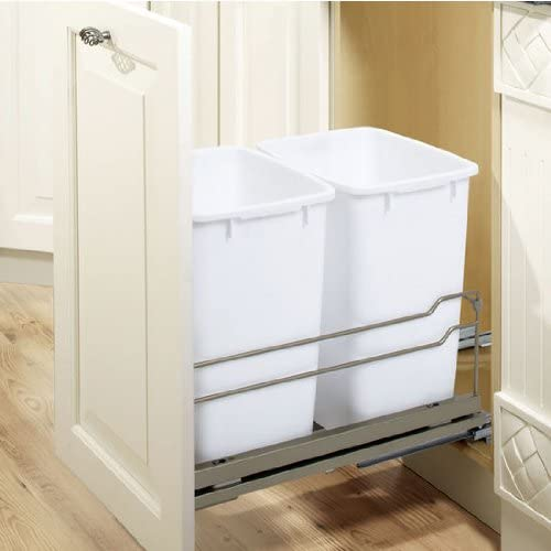 Champagne RICHELIEU 36 Qt Replacement Waste Bin for Cabinet Recycling Pull Out Trash Organizer