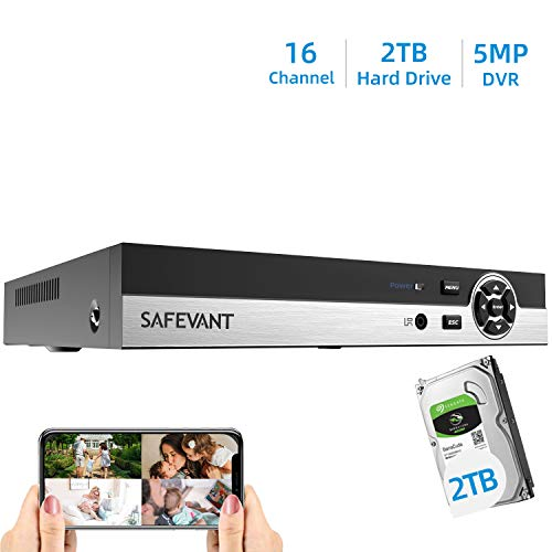 SAFEVANT 5MP Super HD 16 Channel Hybrid 5-in-1 DVR NVR Security Video Recorder with 2TB Hard Drive Build in, Supports Analog and ONVIF IP Cameras (Cameras Not Included)