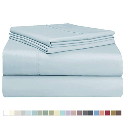 600 Tc Queen Sheets - Pizuna 400 Thread Count Cotton Light Blue Queen Sheets Set, 100% Long Staple Cotton Sheets, Soft Cotton Satin Bed Sheets fit Upto 16 inch Deep Pockets (Baby Blue Queen 100% Cotton Sheets)