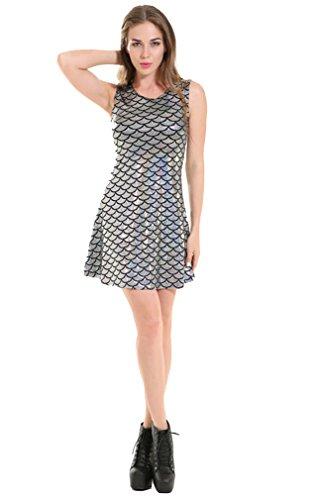 Scale Pleated Mini Metallic Sun Dress Fish Summer ACVIP Playwear Women's Silver YETPqP