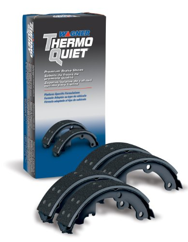 (Wagner ThermoQuiet PAB242DR Riveted Brake Shoe Set, Rear)