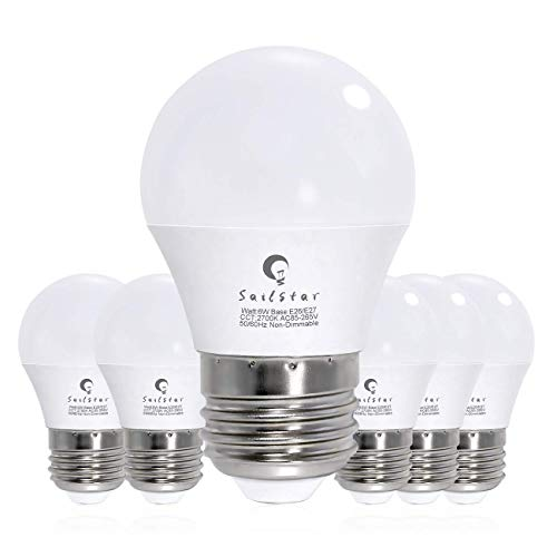 Sailstar 6-Watt 2700K Warm White LED A15 Light Bulb, E26 Medium Screw Base, Incandescent 60-Watt Replacement, G45 Mini Globe Shape Ceiling Fan Light Bulb (Pack of 6)