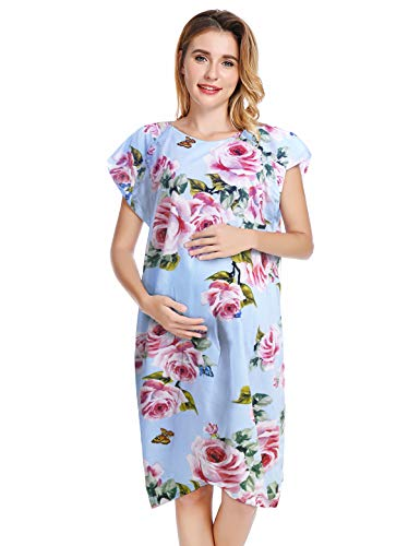 Peauty Hospital Gown for Labor and Delivery Floral Blue 02 S/M