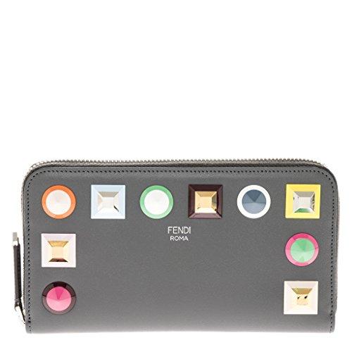 (Fendi Women's Rainbow Studded Zip Around Wallet Grey)