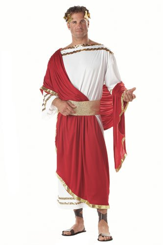 California Costumes Men's Adult-Caesar, Red/White, Standard (Greek Costume For Men)