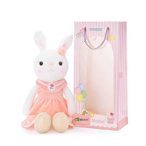Me Too Tiramitu Stuffed Bunny Plush Rabbit Dolls Toys Pink Dress 16 inches+Gift Bag