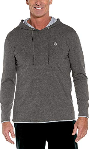 (Coolibar UPF 50+ Men's Oasis Pullover Hoodie - Sun Protective (Medium- Charcoal Heather))