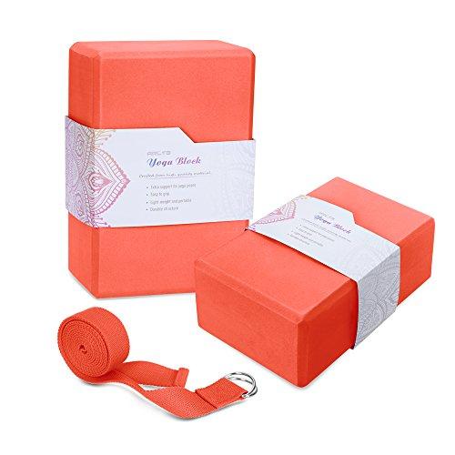Arltb Yoga Block Brick and Strap Set of 2 Eco-friendly EVA Foam Brick Plus Yoga Strap with Metal D-RingProvides Stability Balance and Support Improve Strength (9″x6″x4″) (Orange, 469 inch)