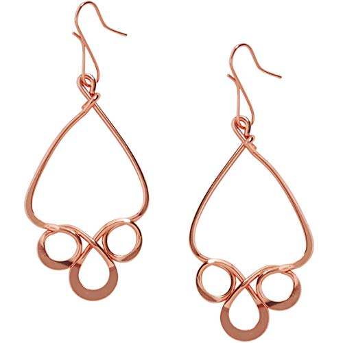 Humble Chic Filigree Drop Dangles - Hypoallergenic Vintage-Style Abstract Spiral Chandelier Earrings for Women, 18K Rose, Pink Gold-Electroplated