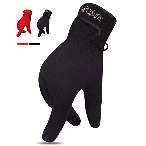 REDCAMP Windproof Winter Gloves for Men Women, Warm Thick Fleece Gloves with Touchscreen for Outdoor Running, Black M