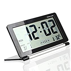 Multifunction Silent LCD Digital Large Screen Travel Desk Electronic Alarm Clock, Date,Time,Calendar,Temperature Display, Snooze, Folding (Black+Silver)