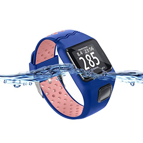 Itlovely Shockproof Soft Silicone Watchband Wrist Strap Bracelet Replacement for Tomtom 1 Multi-Sport GPS HRM CSS AM Cardio Runner Watch Accessories