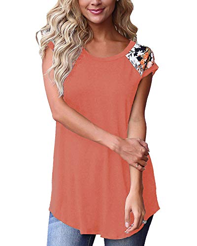 Womans Spring Tops and Blouses for Work T Shirts Short Sleeve for Leggings Coralred XL