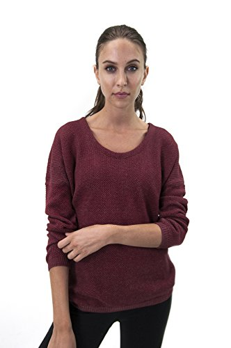 Satva Organic Cotton Relaxed Fit Open Back Textured Knit Tia Sweater, Burgundy, Large by Satva