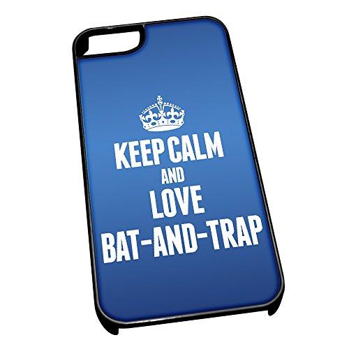 Nero cover per iPhone 5/5S, blu 1698Keep Calm and Love bat-and-trap