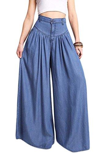 Cintura Pantalones Casual Pantalones De Mujer Alta La Flare Palazzo Bootcut Y Blue Jean wE4qIv5x