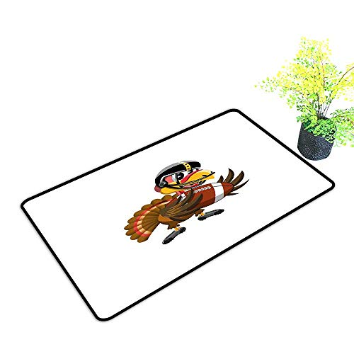 Diycon Pet Door mat Turkey American Football Player Bird in Cartoon Style Funny Animal Character Sports Theme W24 xL35 Quick and Easy to Clean Multicolor ()