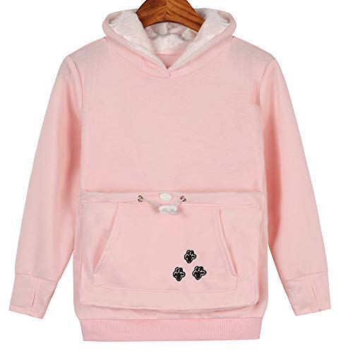 (Teen Girls Pet Pouch Hoodies Kitten Puppy Holder Kangaroo Shirts Sweatshirt Top Pink 140)