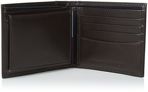 Tommy Hilfiger Men's Leather Cambridge Passcase Wallet With Removable Card Case,Brown,