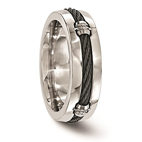 Titanium & Cable Polished 7mm Wedding Ring Band Size 8 by Edward Mirell by Venture Edward Mirell Titanium Bands (Image #4)