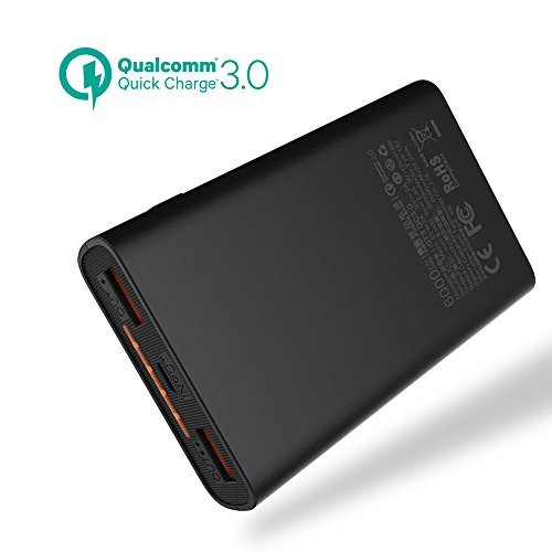 6000mAh Quick Charge Power Bank, meiyi QC 3.0 Portable Battery Charger With 2 USB Output Ports,Ultra slim External Battery Pack For iPhone iPad Samsung Android phones - Black by meiyi