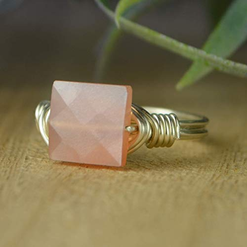 - Square Faceted Peach Moonstone Gemstone and Sterling Silver, Yellow, or Rose Gold Filled Wire Wrapped Ring- Custom Made to Size 4-14