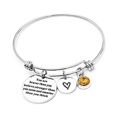 Angel's Draw Home You Are Braver than You Believe Adjustable Bangle Bracelets With 12 Months Color Birthstone for Women Girls Gift (Topaz- November) (Color Topaz November)