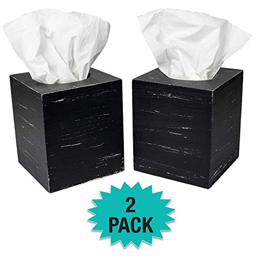 Excello Global Products Rustic Black Barnwood Tissue Box Cover: Tissue Cube Box Includes Slide-Out Bottom Panel. Perfect for Farmhouse Bathroom Decor (Pack of 2)