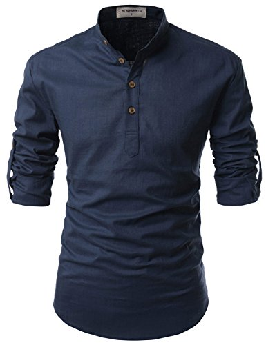 NEARKIN (NKNKN350 Beloved Men Henley Neck Long Sleeve Daily Look Linen Shirts Navy US XS(Tag Size XS)